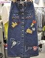 HANZANGL Mujeres Bolsillo de la Alta Cintura de Una Línea de Falda 2017 de Corea Casual Carácter Faldas de Mezclilla Azul Jeans de mezclilla falda A Media Pierna femenino