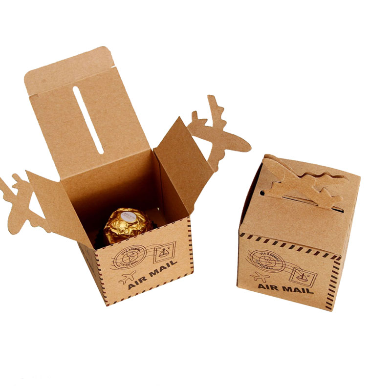 50pcs Kraft Paper Candy Box Travel Theme Vintage Favors Airplane Air Mail Baby Shower Gi ...