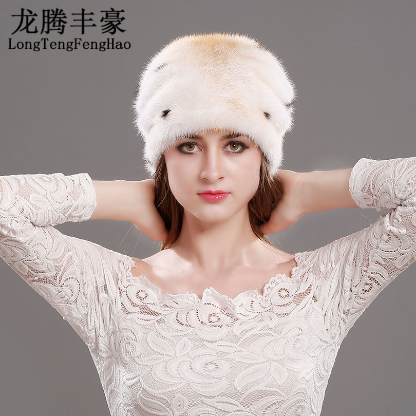 the whole package Hat Warm Women mink the whole skin hat 100% Genuine Knitted fur mink thick cap hat  Protect ears against the cold Natural hat