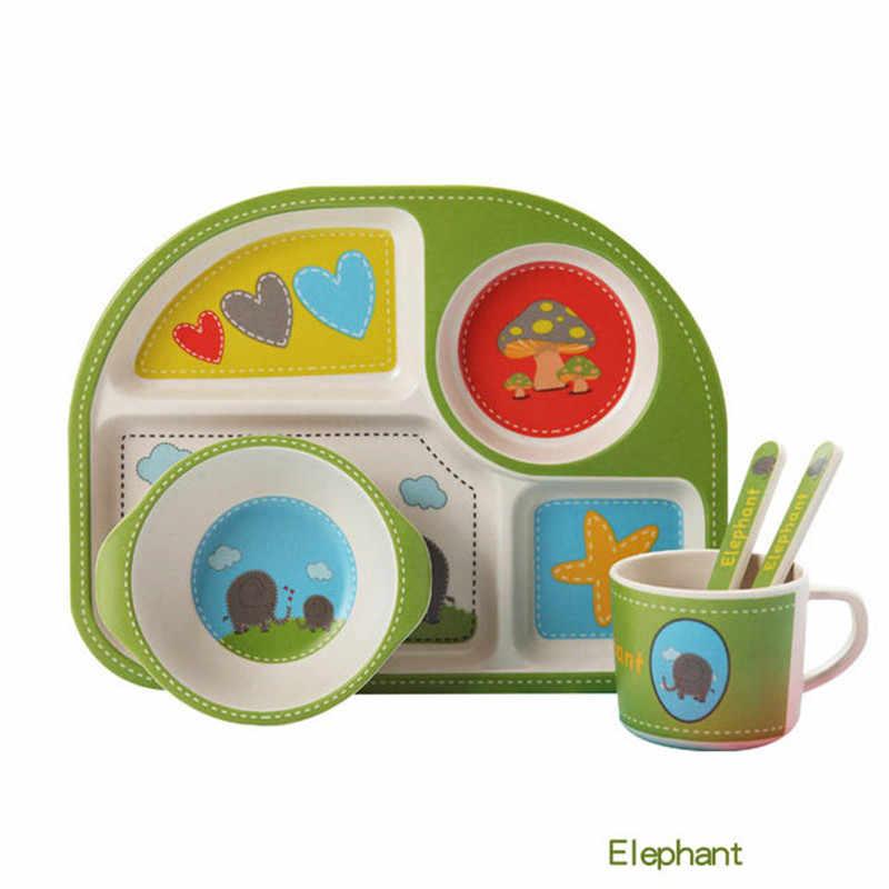 เด็กชุดอาหารชุดไม้ไผ่เด็กจานชามส้อมช้อนถ้วย 5 ชิ้น/เซ็ตอาหารเย็นสำหรับเด็กการ์ตูนแยกแผ่น