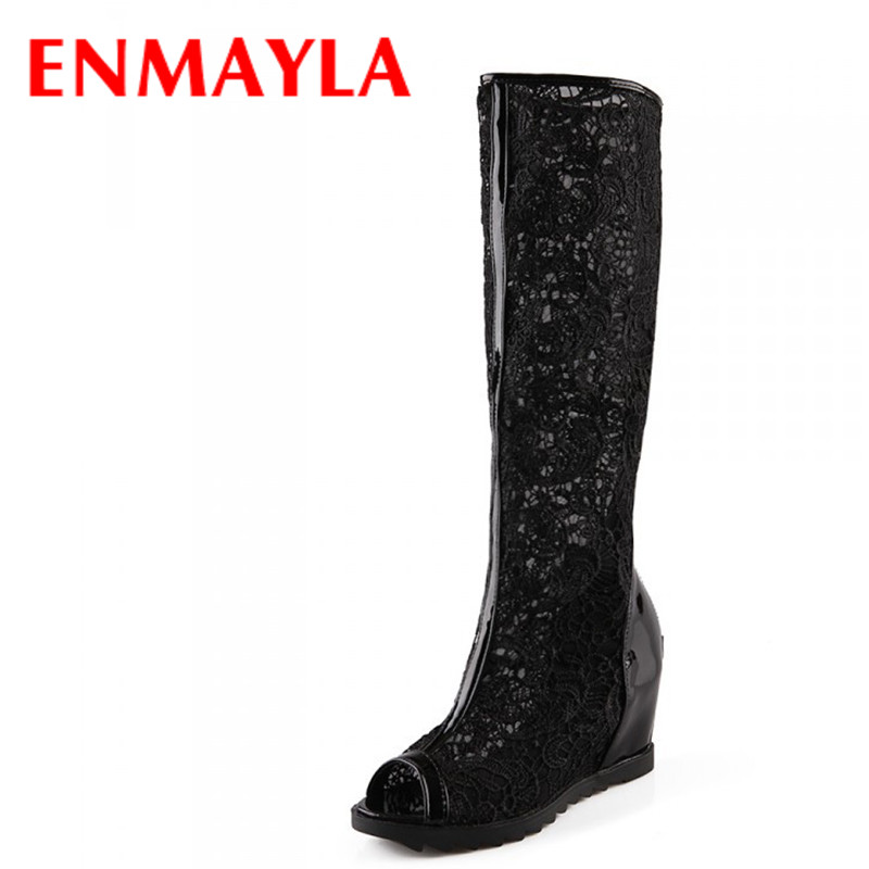 ФОТО ENMAYLA Sexy Lace Round Toe Wedges High boots for women high quality open toe summer boots size 34-43 Knee-High motorcycle boots