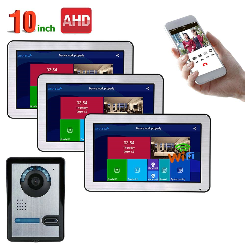 10 Inch 3 Monitors Wired Wifi Video Door Phone Doorbell Intercom Entry System With AHD 720P Wired IR-CUT Camera Night Vision