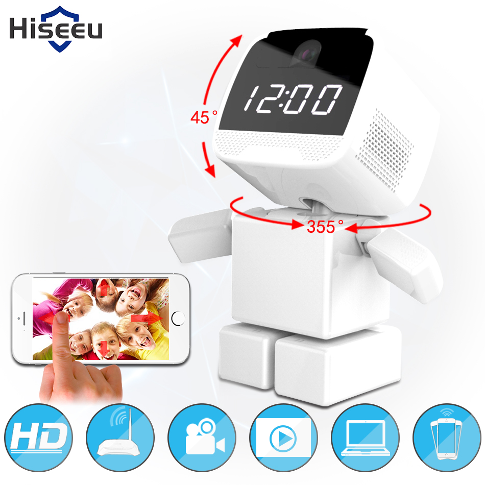 Mini Wifi Robot 960P IP Camera Wireless Clock Network HD Baby Monitor Remote Control Home Security Night Vision Two Way Audio 39 robot camera wifi 960p 1 3mp hd wireless ip camera ptz two way audio p2p indoor night vision wi fi network baby monitor security