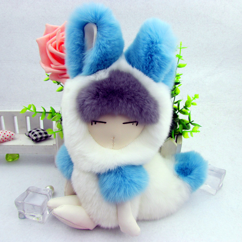 2018 New Gift Cute Real Rex Rabbit Fur Ball 20cm Little Fox Keychain Car Key Chain Ring Pendant For Bag Charm cute fox bobbles fur ball rhinestone keychain bag car ring keyring