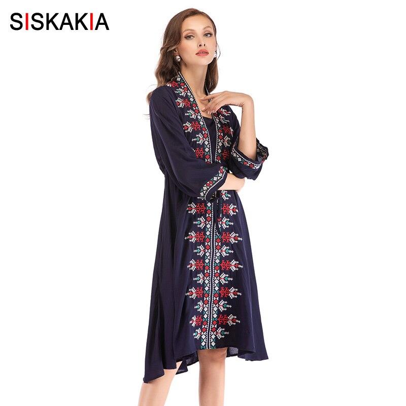 Siskakia Women Dress Knee Length Ethnic Geometric embroidery Elegant Dresses Slim Adjustable Waist Navy Blue Autumn