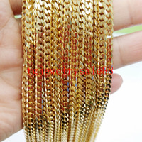 5 10 20pcs Lot Top Selling 4mm Gold Plated Cuban Curb 316L Stainless Steel Link Chain
