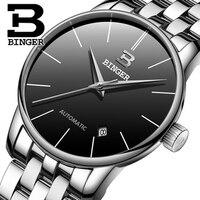 Genuine Swiss BINGER Men Sapphire Luxury Fashion Automatic Mechanical Full Steel Calendar Sally Simple Style Waterproof