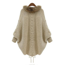 Cardigan Women Long Loose Knited Batwing Sleeve Sweater Fake Fur Neck Poncho Knitting Gilet Femme Manche Longue Jackets Z30