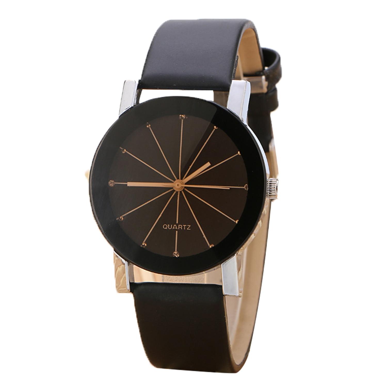 Dapatkan Segera Pasangan Pecinta Retro Round Dial Pu Leather Watch Sabuk Quartz Wrist Watch Untuk Pria