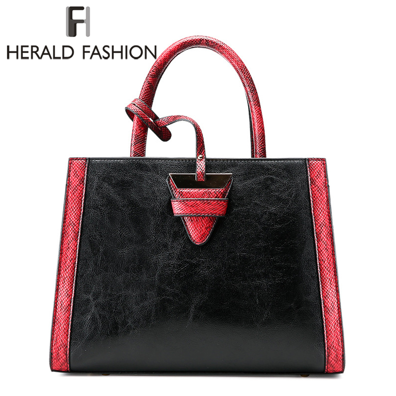 Herald Fashion Serpentine Women Handbag Leather Female Saffiano Panelled Shoulder Bag Lady's Messenger Bag Vintage Commuter bag yuanyu 2018 new hot free shipping real python skin snake skin color women handbag elegant color serpentine fashion leather bag