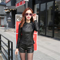 New ! motorcycle leather jacket women leather coat outerwear 2016 spring ladies jackets coats short slim girl jacket coat