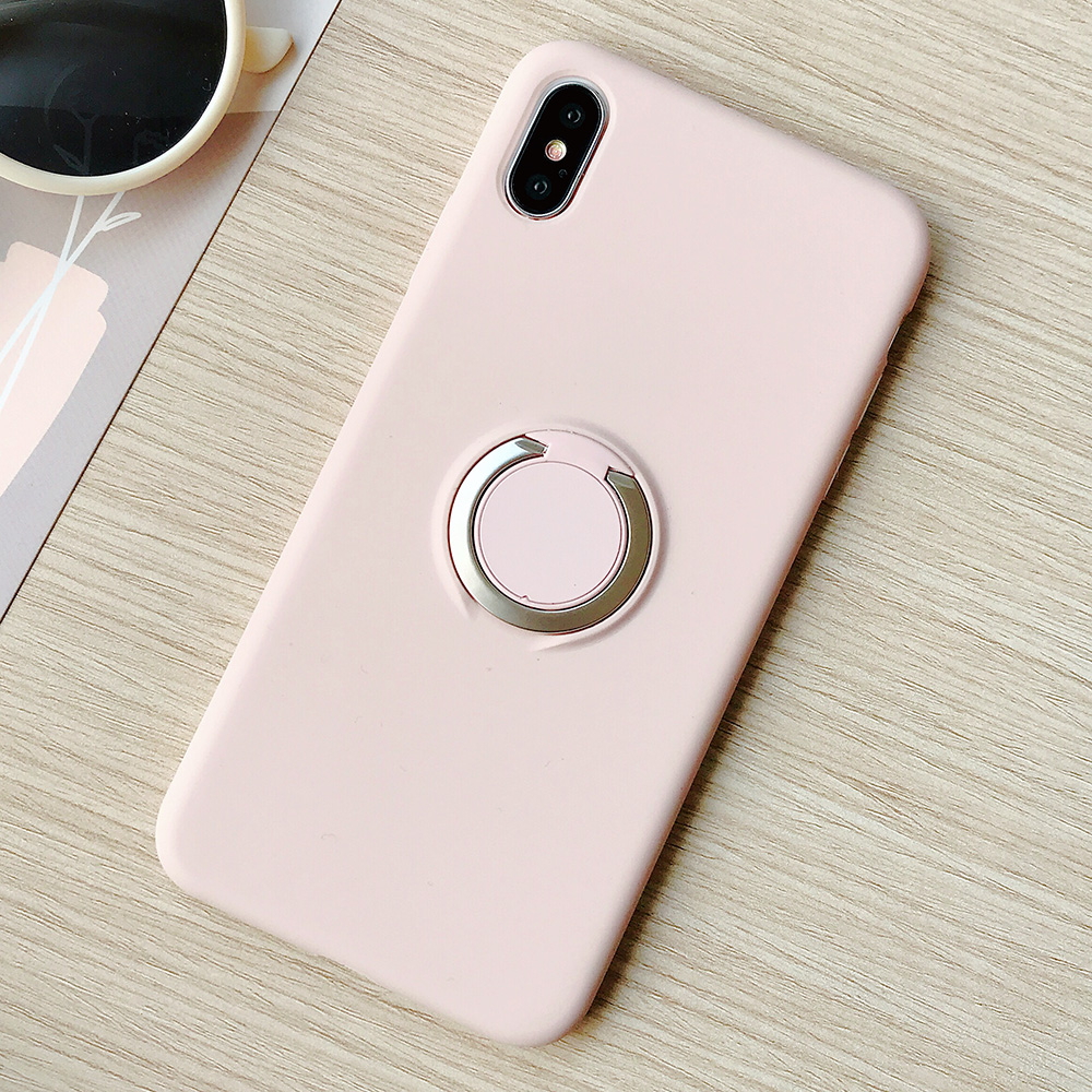 KIPX1110F_1_JONSNOW Pure Color Phone Case for iPhone XS XR XS Max 6 6S 7 8 Plus Matte Soft TPU Solid Cover with Ring Holder Capa Fundas