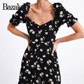 3d94978e1eca Bazaleas 2019 Floral Vintage daisy impresión vestidos de las mujeres de  moda Chic mini vestido Puff