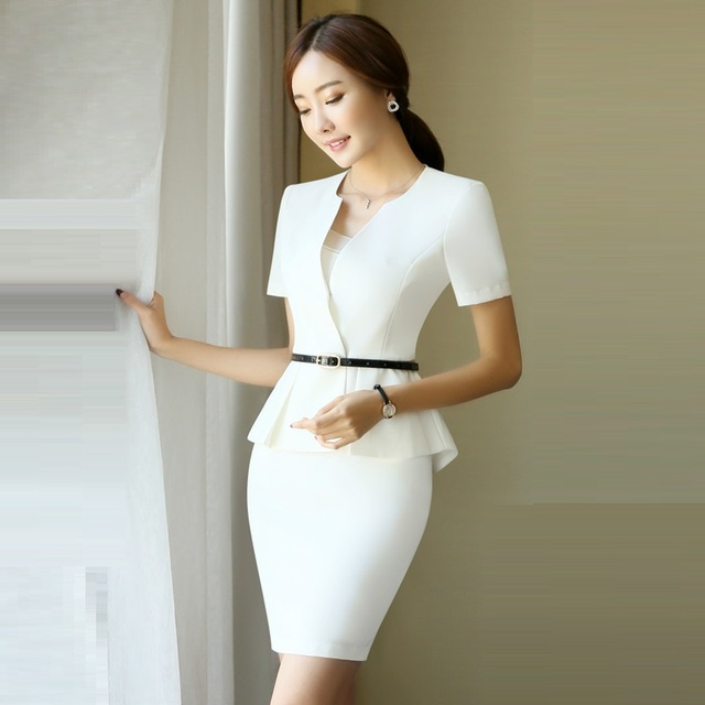 Womens Business Skirt Suits 2018 Summer Office Uniform Designs 2 Piece Set Women White Blazer Jacket