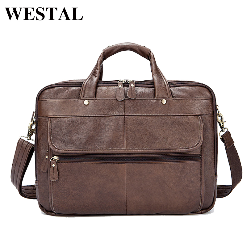 WESTAL Genuine Leather Men Bags Business Laptop male bags Men s Briefcase casual Tote Shoulder Handbag