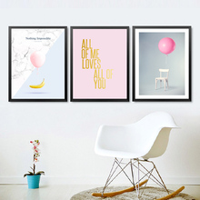 Balloon Nothing Impossible Quote Canvas Pictures Art, Modern Children Girl Room Fashion Wall Picture Print Poster