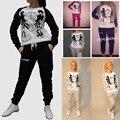 New Women Sportswear Truck Track Suit Casual Mickey Kiss Moletom Femme Hoodies Set Clothing Sweatshirt + Pant Sudaderas Mujer