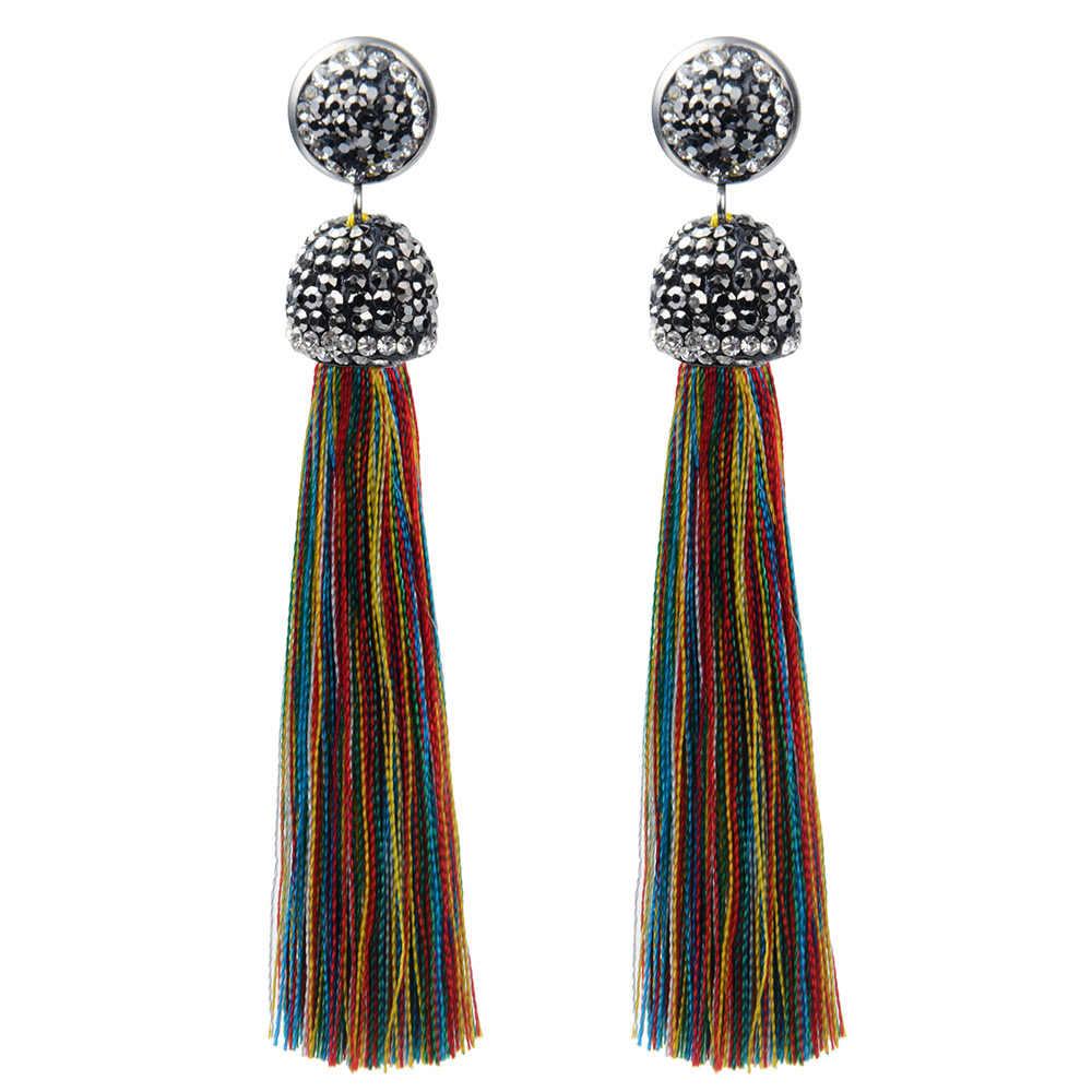 41ec7d7fad9 ... Vintage Crystal Fringe Earrings Long Tassel Boho Drop Dangle Statement Earrings  Women Girl Fashion Jewelry For ...