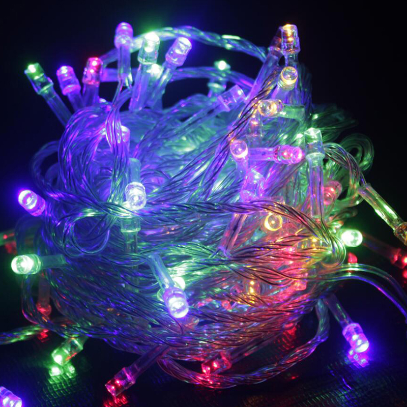 LED String Light 10M Waterproof 110V/220V 100 LED holiday String lighting 9 Colors Christmas ...