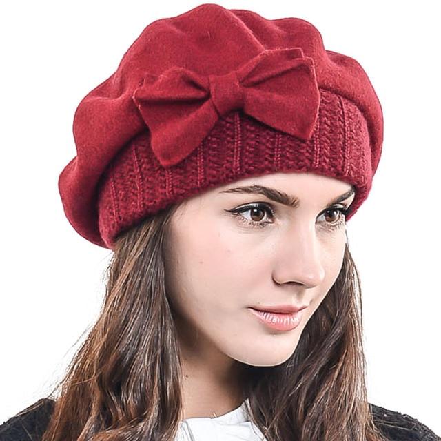 fef0e5e85874b HISSHE Winter Women Classic 100% Wool French Beret Hat Lady Bow Cloche Hat  Chic Beanie Cap