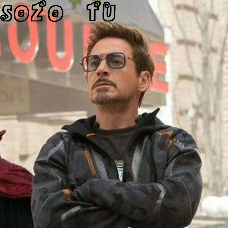 IRON MAN TONY Square Sunglasses Men Mirrored 2018 Design Brand Sunglasses Vintage Eyewear Frame Oculos Masculino Matsuda gozluk