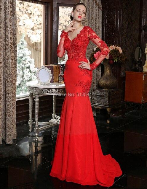 Langen Ärmeln V ausschnitt Trompete Mermaid Rote Abendkleider ...