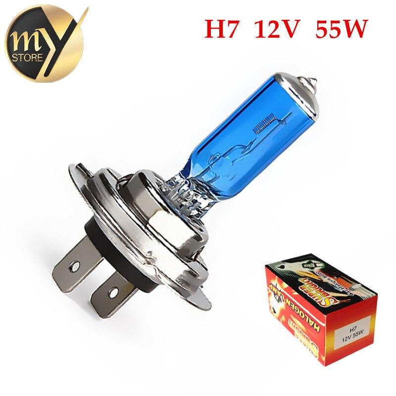 Галогенная лампа, 2 шт., H7 55 Вт 12 В, супер белый противотуманный светильник s, мощный автомобильный головной светильник, стояночный светильник...