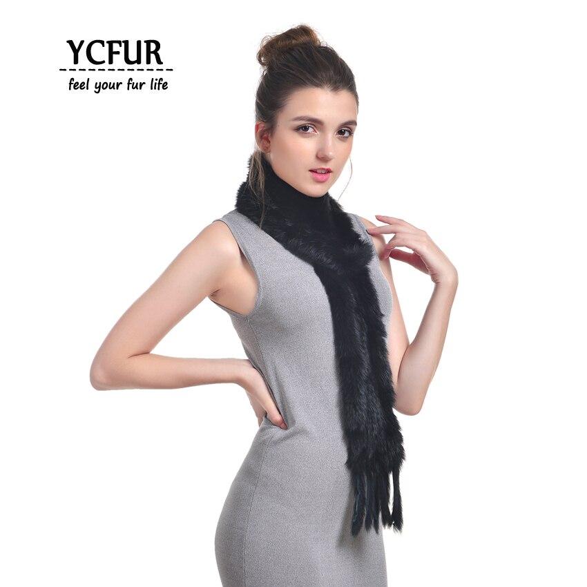 [YCFUR] Women's   Scarves     Wraps   Winter Handmade Knitted Real Rabbit Fur Scarfs With Tassels Warm Winter Neck   Scarf   Female