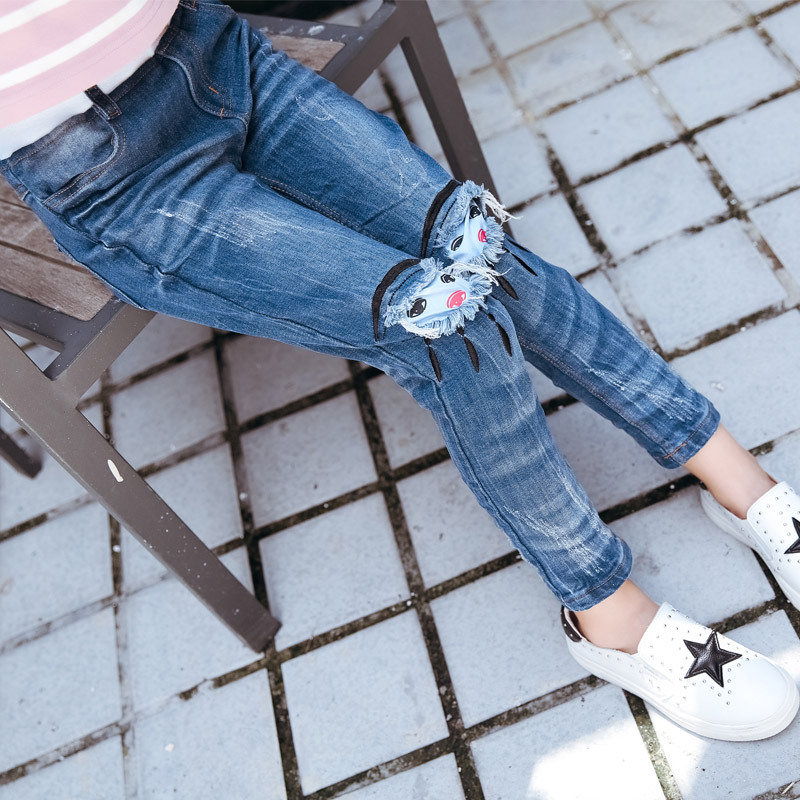 Children's Wear Girls New Autumn Leisure Jeans Pants Hot Elastic Kids Trousers Blue Cartoon Demin