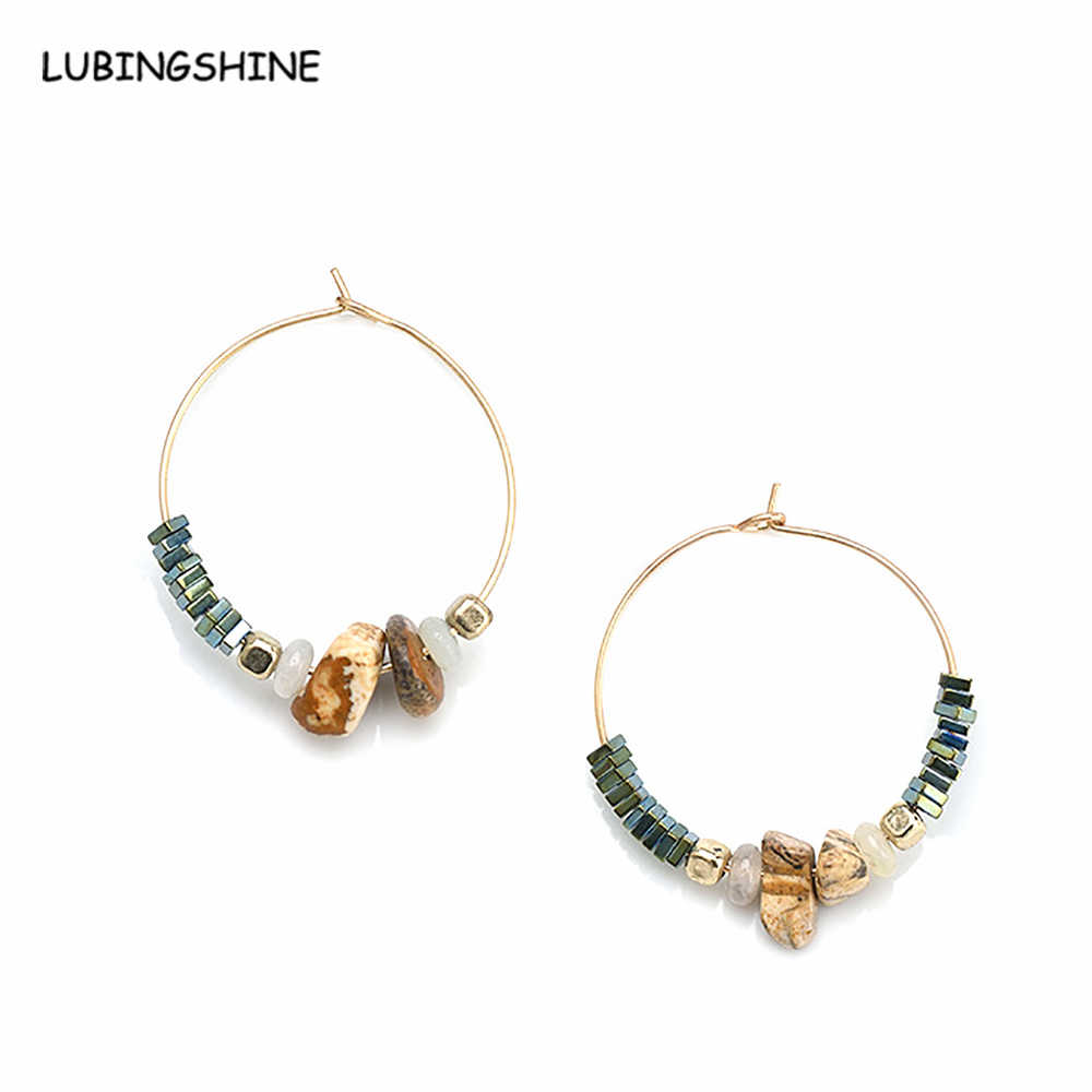 Ethnic Women Vintage Natural Stone Beads Statement  Earrings 2017 Trendy Alloy Round Big Circle Hoop Earring Jewelry JJAL E482