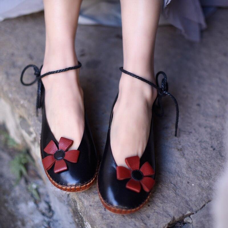 Handmade sapatos baixos mulher ballet flats mulheres sapatos de couro genuíno casuais cabeça redonda com tira no tornozelo sapatos femininos em preto e branco - 4