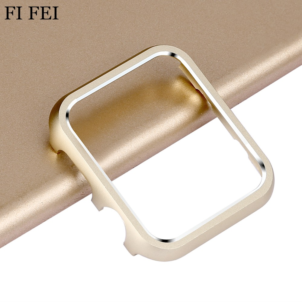 FI FEI Aluminum Metal Bumper Case Cover For Apple Watch Case 38mm 42mm Series 1 2 3 Luxury Protective Set Shell 38&42 MM protective aluminum alloy bumper frame case for iphone 5 5s light blue