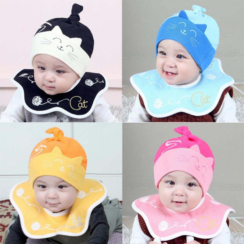2pcs /set Newborn Baby Bibs Cute Cartoon Cat Newborn Baby Cotton Hat + Soft Cotton Waterproof Rotation Baby Bib Set Unisex