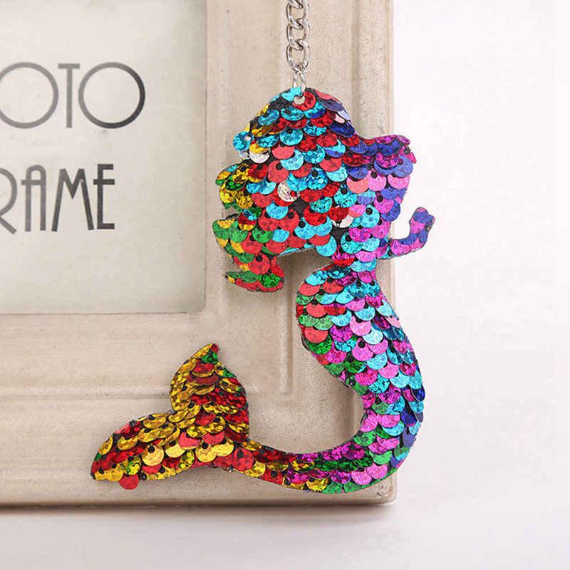 1 шт. Блестящий Русалка блестками брелки для Для женщин кулон ювелирные изделия сумка автомобиля мешок кулон аксессуары брелок ювелирные изделия