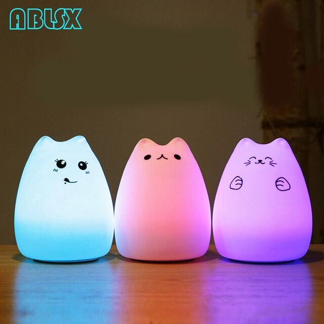 Karikatür Kedi Led Gece Lambası 3D Hayvan Armatür Gece Lambası Çocuklar Için Başucu Lambası Noel Noel 7 Renk Değişti Gece Işıkları