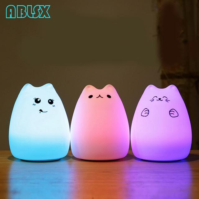 Luz Nocturna Led de dibujos animados con diseño de gato, luminaria de animales en 3D, luz nocturna para niños junto a la lámpara, Navidad, 7 colores cambiados, luces nocturnas