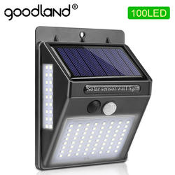 100 светодиодный садовый светильник на солнечных батареях, Солнечная лампа, датчик движения PIR, солнечный свет, водонепроницаемый для