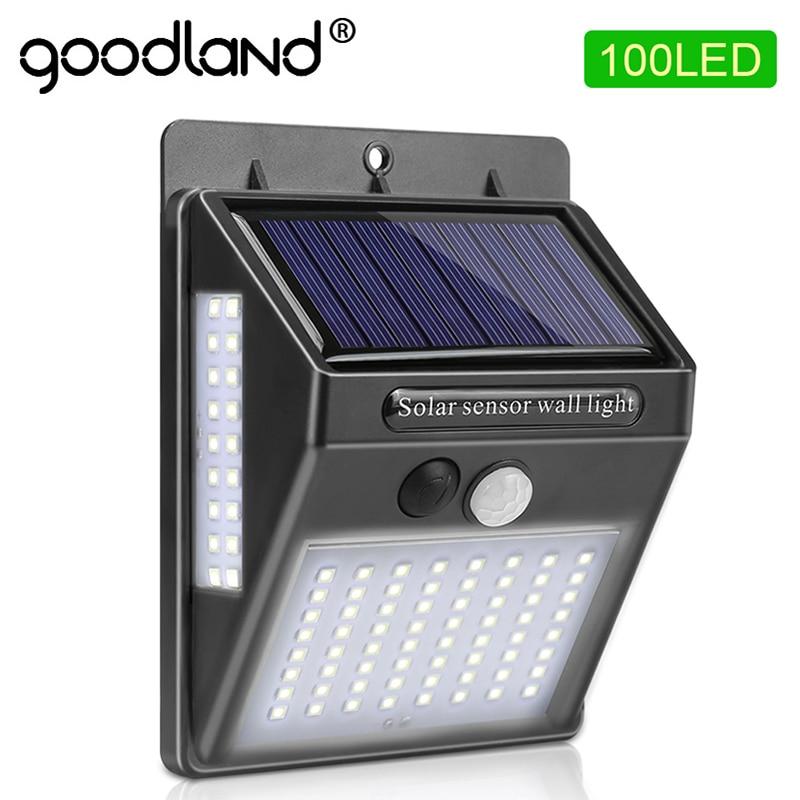 100 светодиодный садовый светильник на солнечных батареях, Солнечная лампа, датчик движения PIR, солнечный свет, водонепроницаемый для уличное украшение на стену