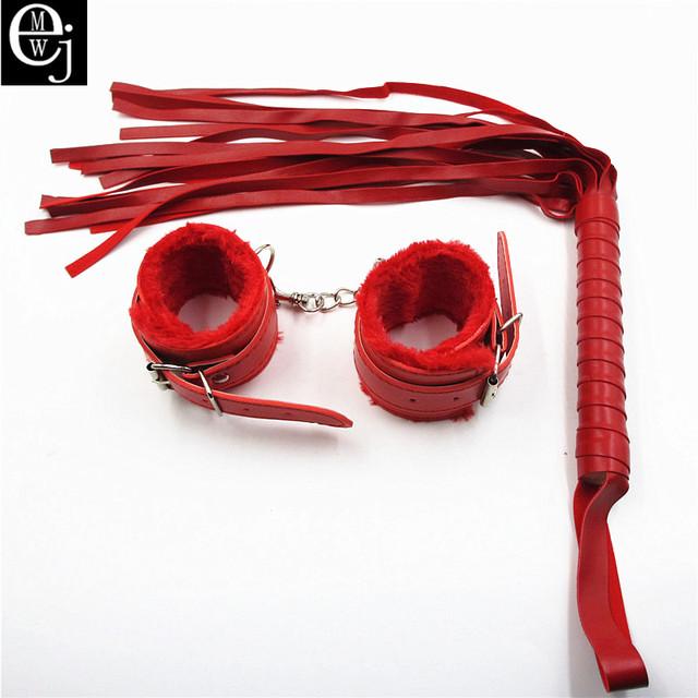EJMW 2Pcs/Set Sex Product Leather Whip Sex Flogger+Leather Handcuffs For Sex Handcuffs Bdsm Bondage Sex Toys For Couples ELDJ48