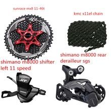 цена на Shimano 1x11 groupset kit Spd SL-M8000-I RD-M8000 withSunrace CSMX8 11-46 kmc x11sl chain