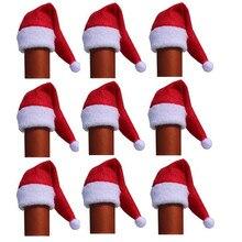 Mini lindo rojo Santa Claus sombrero Navidad vino botella Covers Año nuevo  regalo de Navidad partido Copa Mesa decoración Para e. 06974920a32