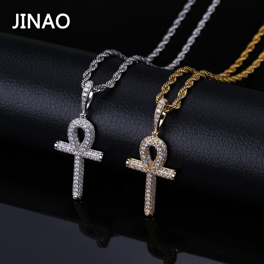 White Gold-Tone Iced Out Hip Hop Bling Symbol Of Life Ankh Cross Pendant 1 Row Stones Tennis Chain 24 Necklace Choker Chain