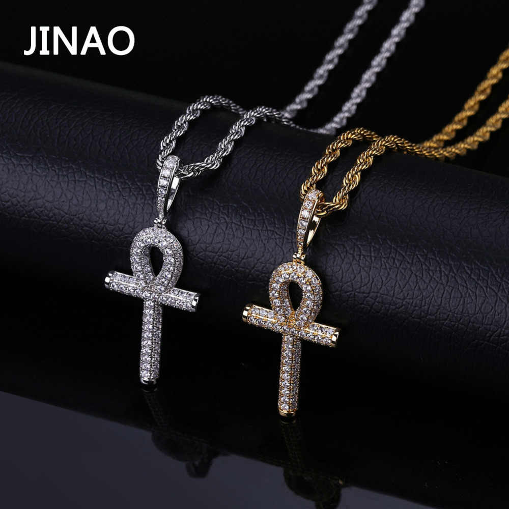 JINAO Solid Ankh Cross Pendant Cubic Zircon Chains Hip Hop Micro Pave CZ Stones Egyptian Style Necklace & Pendants For Men Women