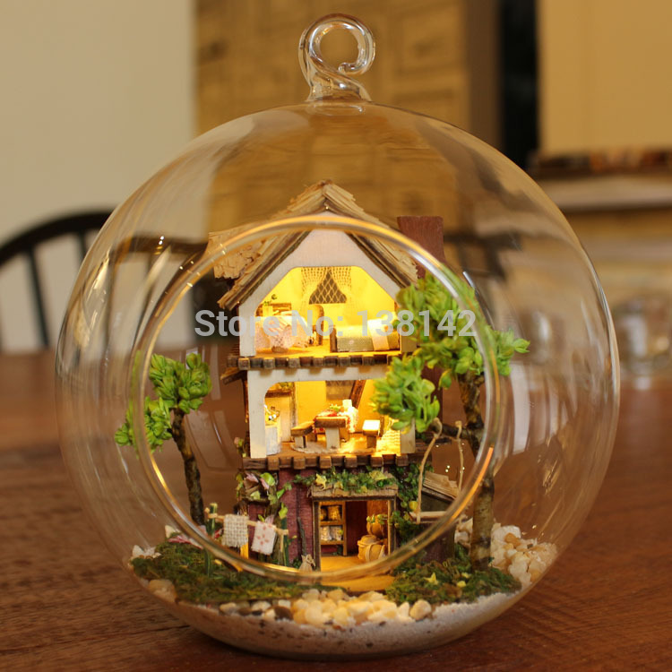 B001 DIY Glass Ball Doll House Model Building Kits Wooden Mini Handmade Miniature Dollhouse mini island forest dream & B001 DIY Glass Ball Doll House Model Building Kits Wooden Mini ...