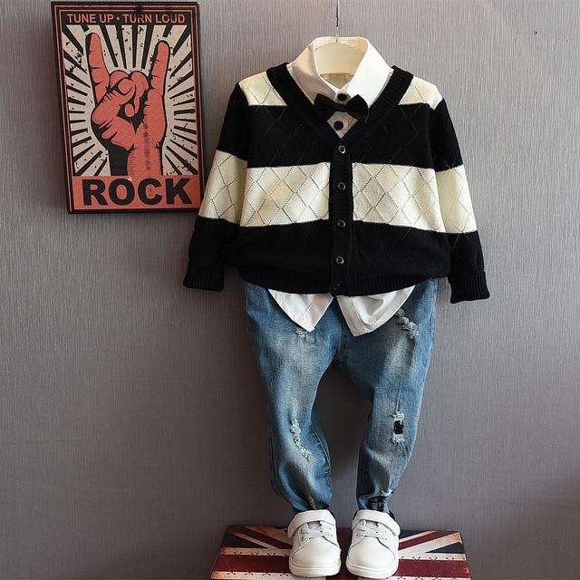 2016 spring autumn Girls Boys button V-neck Shirt jackets kids Striped Sweater Cardigan kids sweater toddler girl boy sweater