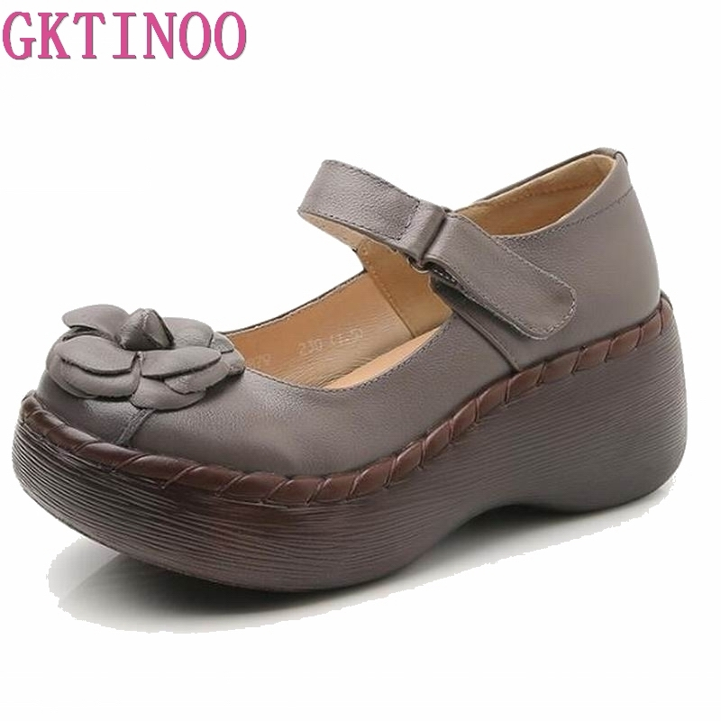 GKTINOO Handmade Genuine Leather Women Platform Sandals Wedge Sandals Flower Cover Toes Women Casual Summer Shoes
