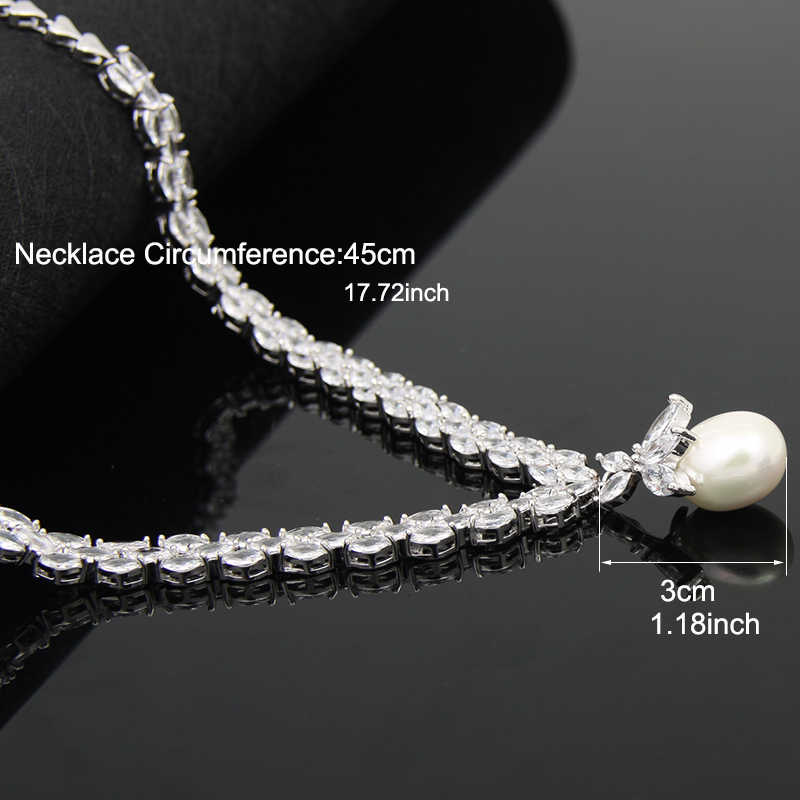 Elegant Simulated Pearl Bridal Jewelry Sets Wedding Jewelry Leaf Crystal Necklaces Earrings Sets Jewelry Sets For Women AS087