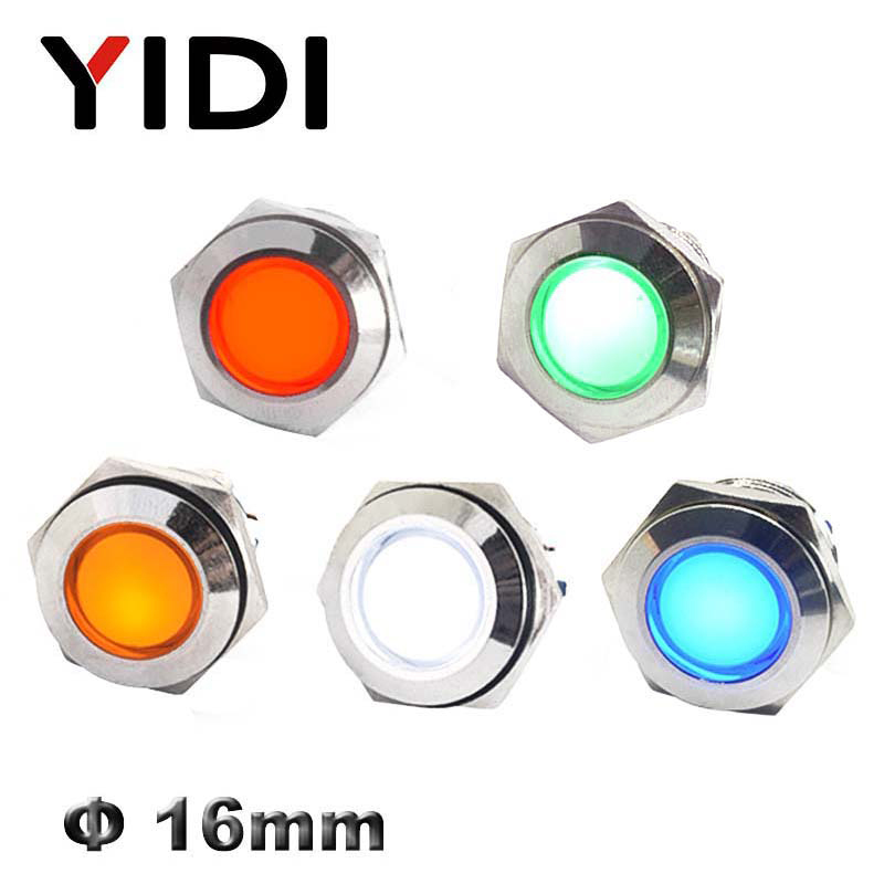 16mm Panel Mounted Metal LED Indicator Light Pilot Lamp Signal Lamp Waterproof 12V 24V 220V LED Red Green Blue