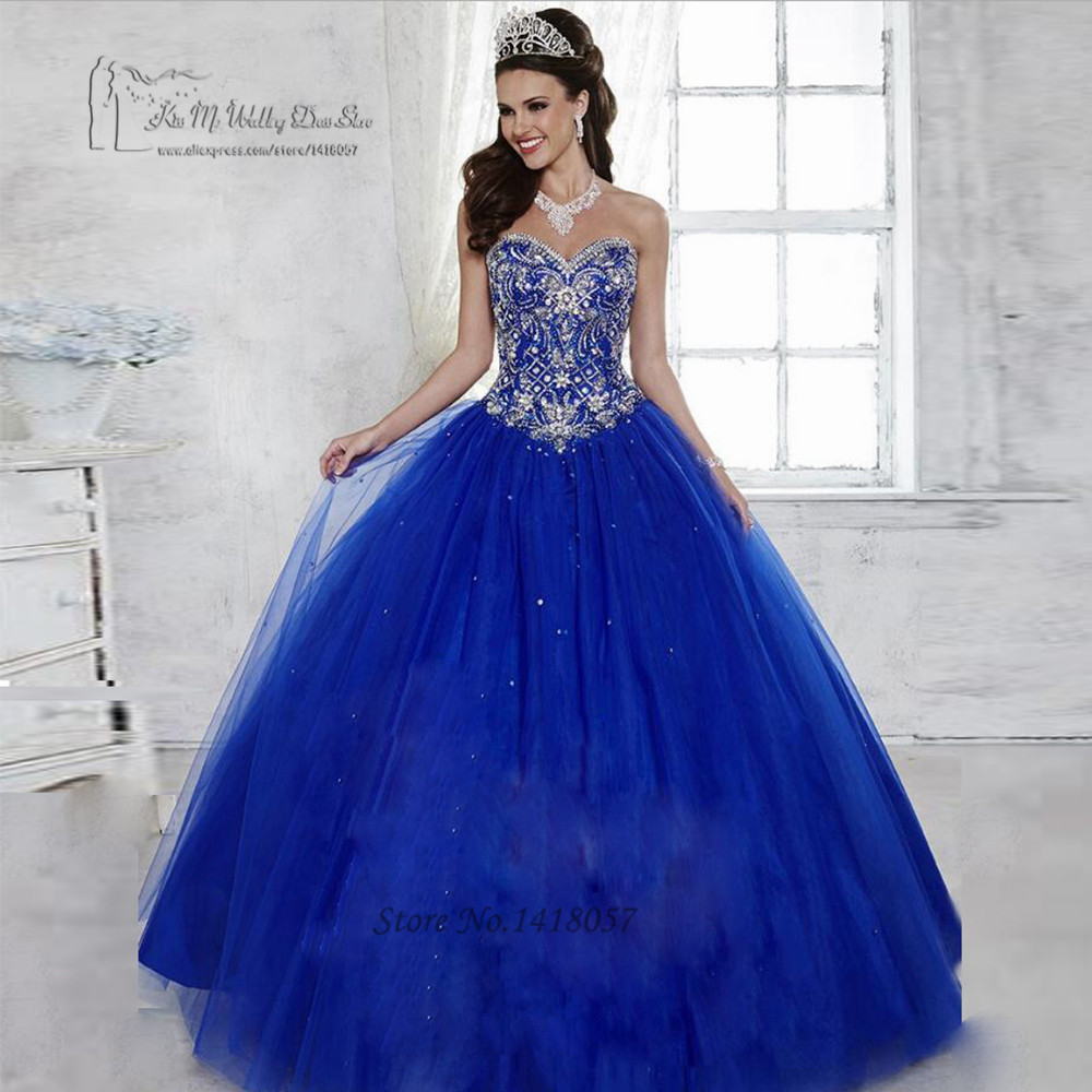 Royal Blue Fancy Ball Gown Quinceanera Dresses 2017 Rhinestones Vestidos de 15 Anos Tulle Floor Length