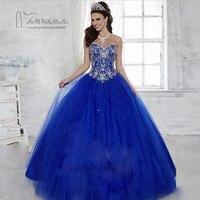Royal Blue Fancy Ball Gown Quinceanera Dresses 2017 Rhinestones Vestidos de 15 Anos Tulle Floor Length Beaded Sweet 16 Dresses